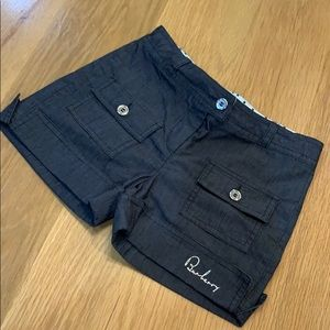 Burberry Youth Black Shorts 8 Pocket Button Front